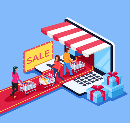 Ilustración de People consumers go to the internet shop market. Online e commerce retail store shopping concept. Vector design graphic flat cartoon isolated illustration - Imagen libre de derechos