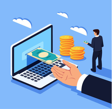 Illustration pour Businessman man office worker character manager receiving money electronic currency. Online banking exchange. Vector flat cartoon graphic design isolated illustration concept - image libre de droit
