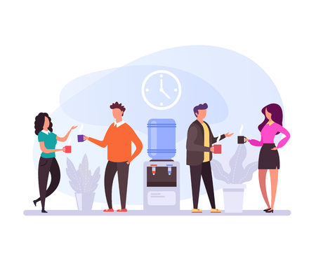 Illustration pour Coffee breaks lunch time Office life concept. Vector flat design graphic cartoon isolated illustration - image libre de droit
