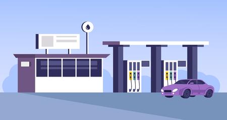 Illustration pour Gas station building with car parking. Vector flat cartoon graphic design illustration - image libre de droit