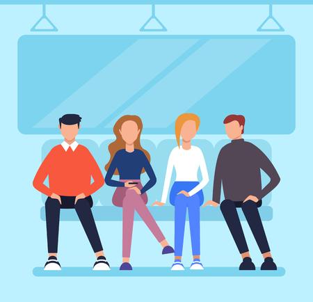 Illustration pour People passengers sitting in wagon metro and using phone. City urban transportation concept. Vector flat cartoon graphic design illustration - image libre de droit