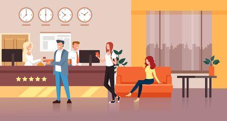 Illustration pour Hotel reception concept. Vector flat cartoon graphic design isolated illustration - image libre de droit