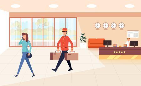 Illustration pour Carrier porter carry bags. Tourism travel concept. Vector flat graphic design cartoon illustration - image libre de droit