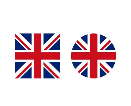 Illustration pour United Kingdom British round and square shape form flag set. Vector graphic design isolated illustration - image libre de droit