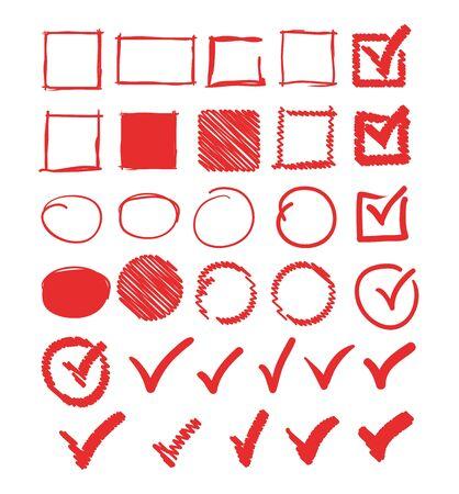 Illustration pour Doodle check marks circle square frame set collection. Vector flat graphic design illustration - image libre de droit