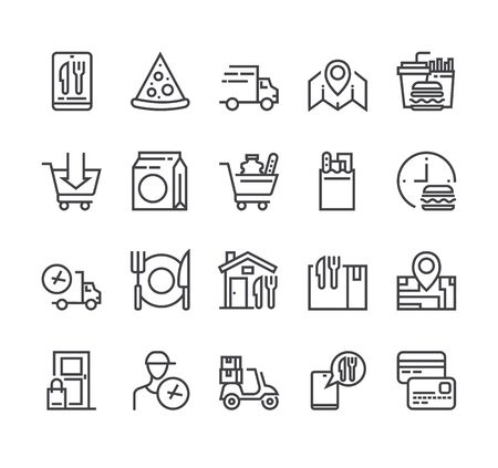 Illustration for Food delivery isolated icon set. Vector flat cartoon graphic design - Royalty Free Image