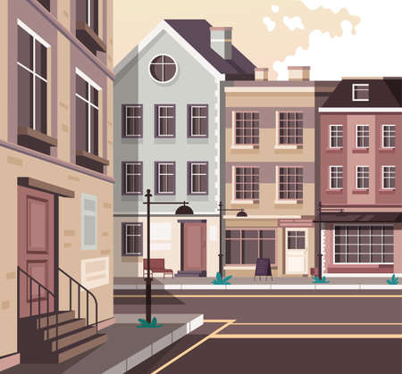 Illustration for Retro old style Europe city town street concept. Vector flat graphic design cartoon illustration - Royalty Free Image