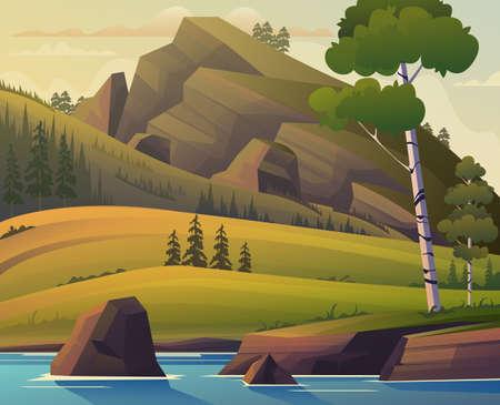Illustration pour Forest panorama landscape meadows concept. Vector flat graphic design cartoon illustration - image libre de droit