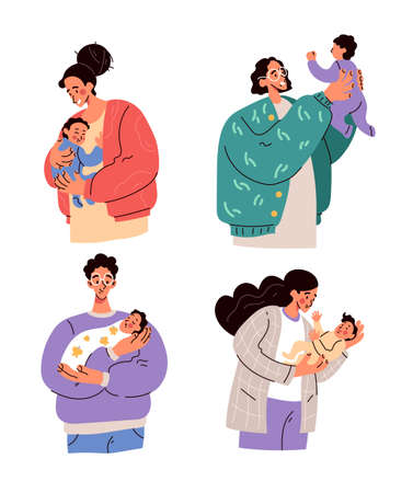 Illustration for Happy parents mothers and fathers holding newborn babies on hands. Parenthood motherhood fatherhood concept - Royalty Free Image