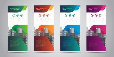 Illustration pour Business roll up banner with 4 various colors. Standee design banner template vector illustration. - image libre de droit