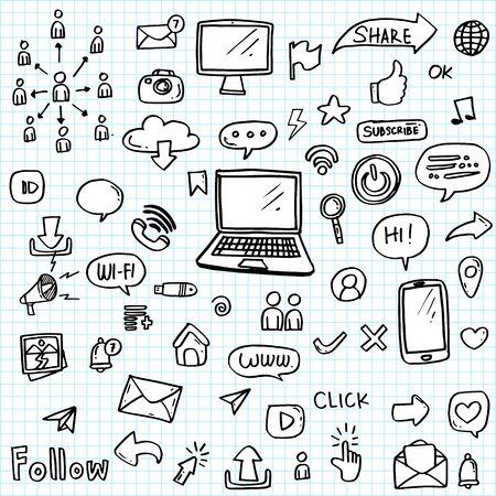 Illustration pour set of social media icon hand drawn. - image libre de droit