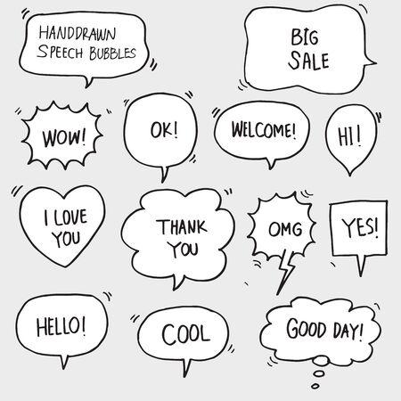 Illustration pour set of hand drawn comic bubble speech with text - image libre de droit