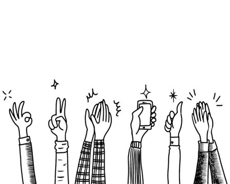 Illustration pour Hand Drawn sketch style of Human hands clapping ovation. applause, thumbs up gesture on doodle style , vector illustration. - image libre de droit