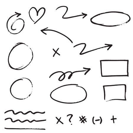 Illustration pour doodle design element. Doodle lines, Arrows, Check mark, circles and curves vector.hand drawn design elements isolated on white background. - image libre de droit