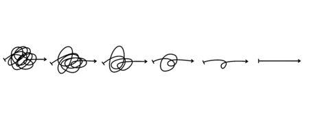 Illustration pour Simplifying the complex, confusion clarity or path vector idea concept. Doodle vector illustration . - image libre de droit
