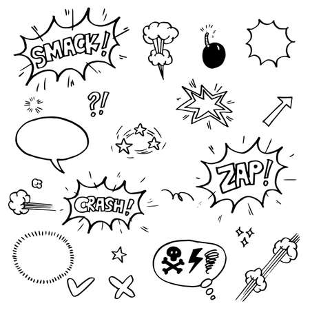 Illustration for set of hand drawn comic elements. vector doodle comic elements cartoon isolated on white background - Royalty Free Image