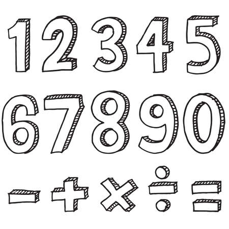 Illustration pour Hand drawn colorful numbers. doodle numbers for children's themes isolated on white background. - image libre de droit