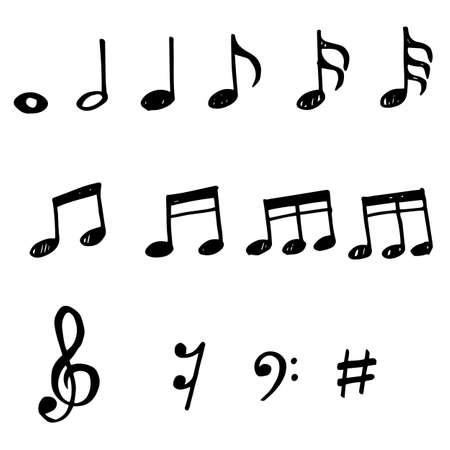 Illustration pour Set of hand drawn music note doodle. Vector doodle design element music note cartoon illustrations isolated. - image libre de droit