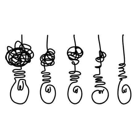 Illustration pour doodle light bulb icons with concept of idea.vector illustration. - image libre de droit