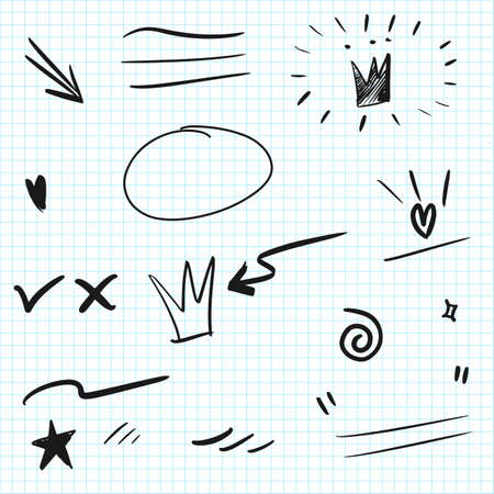 Illustration for Hand drawn set elements. Arrow, heart, love, speech bubble, star, leaf, sun, light, check marks ,crown, king, queen, swishes, swoops, emphasis ,swirl, heart, for concept design. - Royalty Free Image