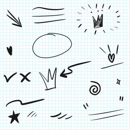 Illustration pour Hand drawn set elements. Arrow, heart, love, speech bubble, star, leaf, sun, light, check marks ,crown, king, queen, swishes, swoops, emphasis ,swirl, heart, for concept design. - image libre de droit