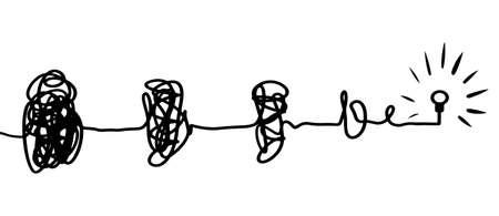 Illustration pour confusion clarity or path vector idea concept. Simplifying the complex . Doodle vector illustration . - image libre de droit
