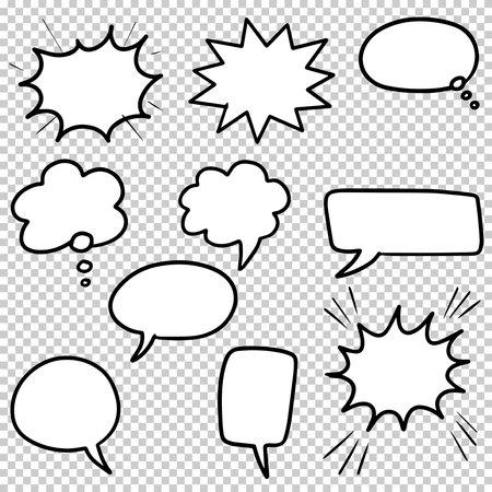Illustration pour Hand drawn set of speech bubbles isolated . Doodle set element. Vector illustration. - image libre de droit