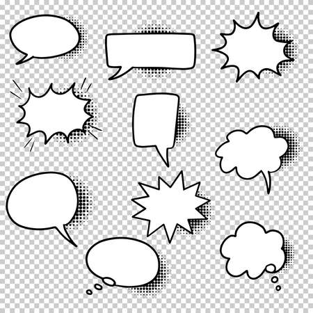 Illustration pour Hand drawn set of speech bubbles isolated with black halftone shadows on transparent background. Doodle set element. Vector illustration. - image libre de droit