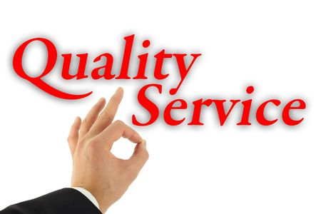 Quality service concept with hand okay sign isolated on white
