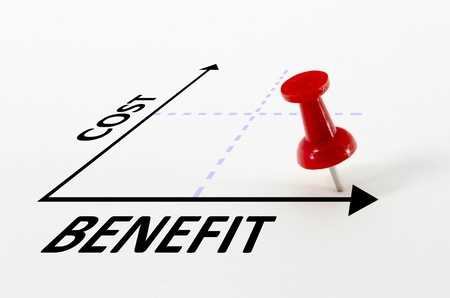 Cost benefit analysis concept on a graph with a thumb nail pin target marker
