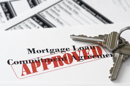 Real Estate Mortgage Approved Loan Document With House Keys