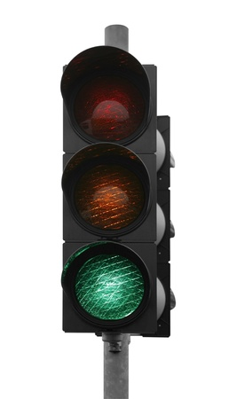 green traffic control signal isolated on white