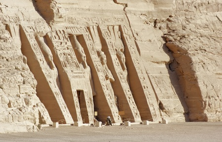 sunny illuminated architectural detail of the historic Abu Simbel temples in Egypt (Africa)