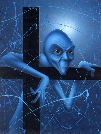 picture painted by me, called Doubt. It shows a strange blue gnome full of doubts im mystic blue ambiance