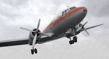 dynamic shot of a nostalgic aircraft and cloudy sky