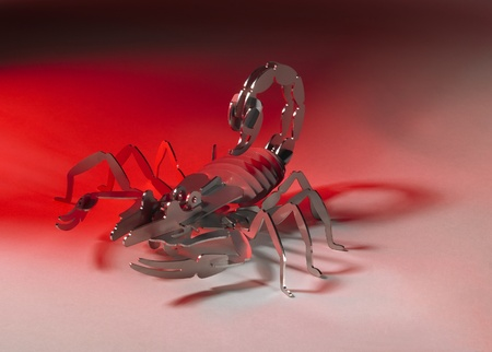 simplified scorpion made of metal, red illuminated