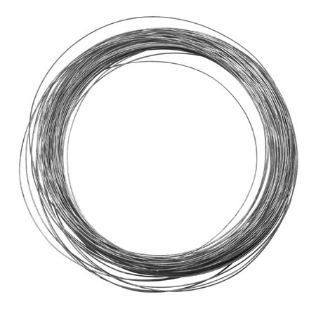 studio photography of a roll of metal wire isolated on white with clipping path
