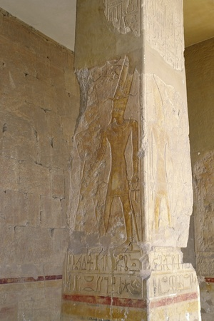 ancient decorated column at the Mortuary Temple of Hatshepsut in Egypt