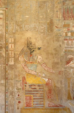 ancient painting inside the Mortuary Temple of Hatshepsut in Egypt