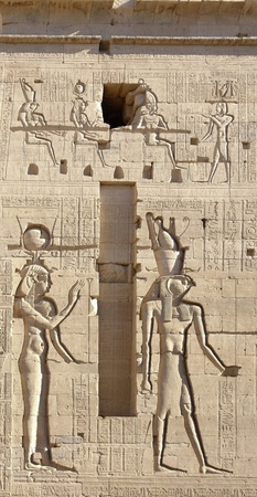 relief and hieroglyphics at the ancient Temple of Philae in Egypt (Africa)