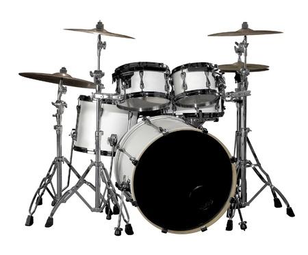 white drum kit in white back