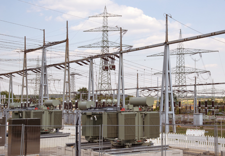 Photo pour detail of a electrical substation in Southern Germany - image libre de droit