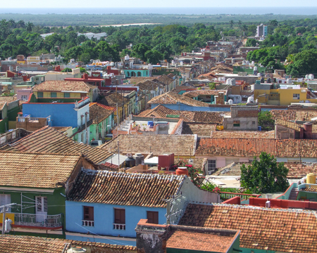 city view of Trinidad, a town in Cuba in sunny ambiance