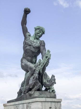 part of the Liberty statue at the Citadella on Gellert Hill in Budapest, the capital city of Hungary