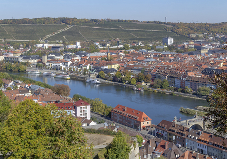 aerial view of Wuerzburg, a franconian city in Bavaria, Germanyの素材 [FY310124118518]
