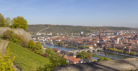 aerial view of Wuerzburg, a franconian city in Bavaria, Germanyの素材 [FY310124105324]