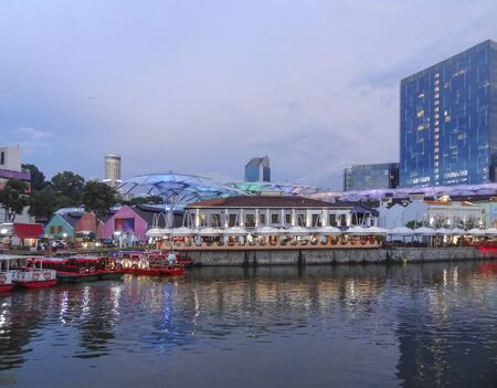 Photo for evening scenery around the Clarke Quay in Singapore, a city-state in Southeast Asia - Royalty Free Image