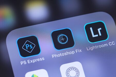 Photo pour Adobe Inc. mobile apps icon on the screen smartphone. Adobe Systems Incorporated is an American multinational computer software company. Moscow, Russia - October 27, 2018 - image libre de droit