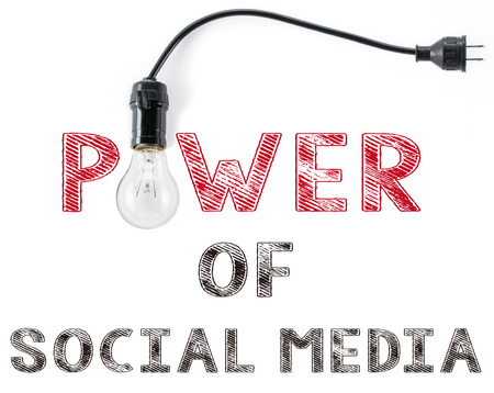 Photo for power of social media phrase and light bulb - Royalty Free Image