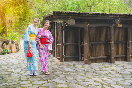 Girlfriends wearing traditional clothing kimono having fun with watching nature plant and house outside. Japaneses friends walking near old japan architecture, Asian woman traveling on japan.